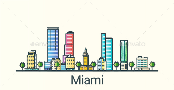 Line Flat Miami Banner - Buildings Objects