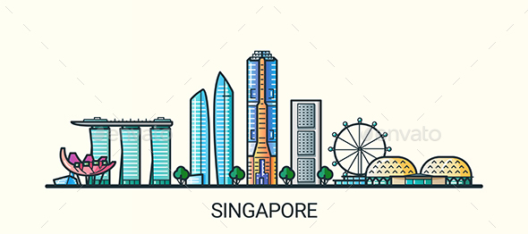 Line Flat Singapore Banner - Buildings Objects