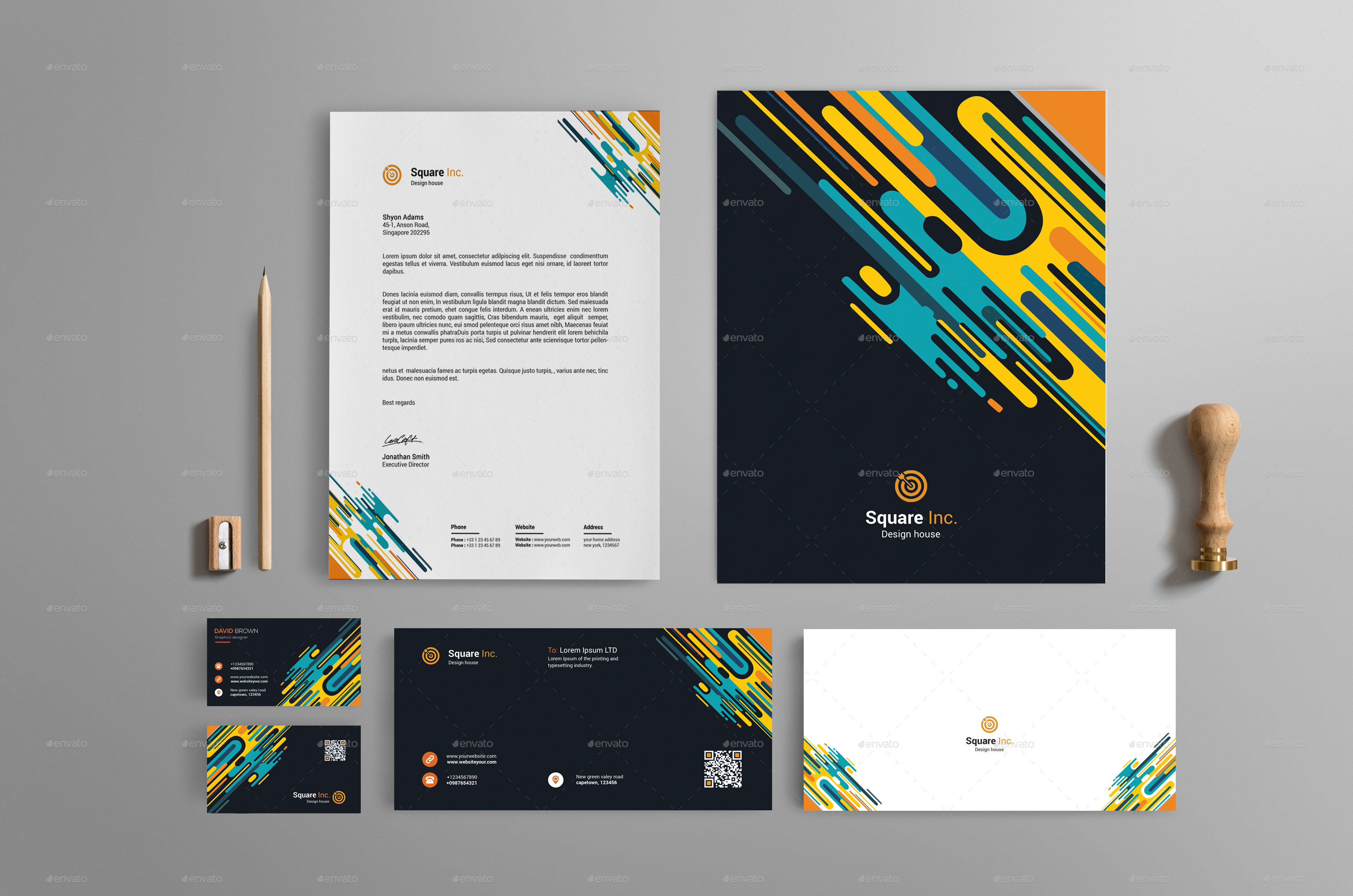 Abstract Brand Identity Design By Warp Street Graphicriver