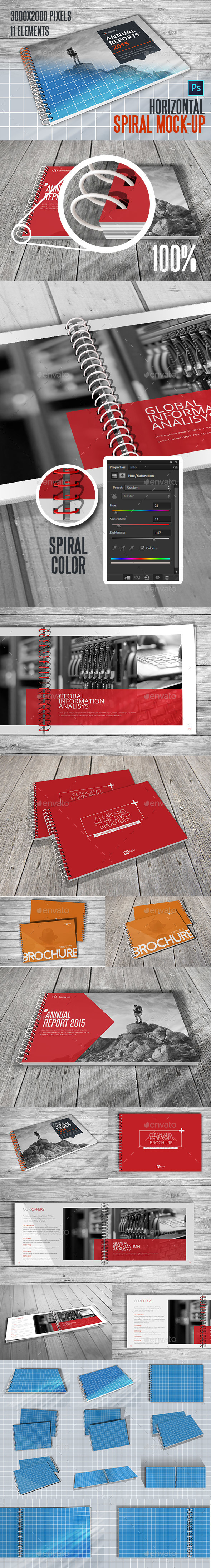 Spiral Horizontal Mockup A4 - Brochures Print