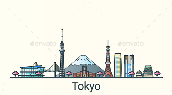 Line Flat Tokyo Banner - Buildings Objects