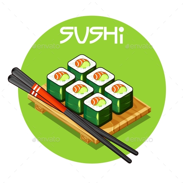 Wooden Tray with Sushi Japanese Food - Food Objects