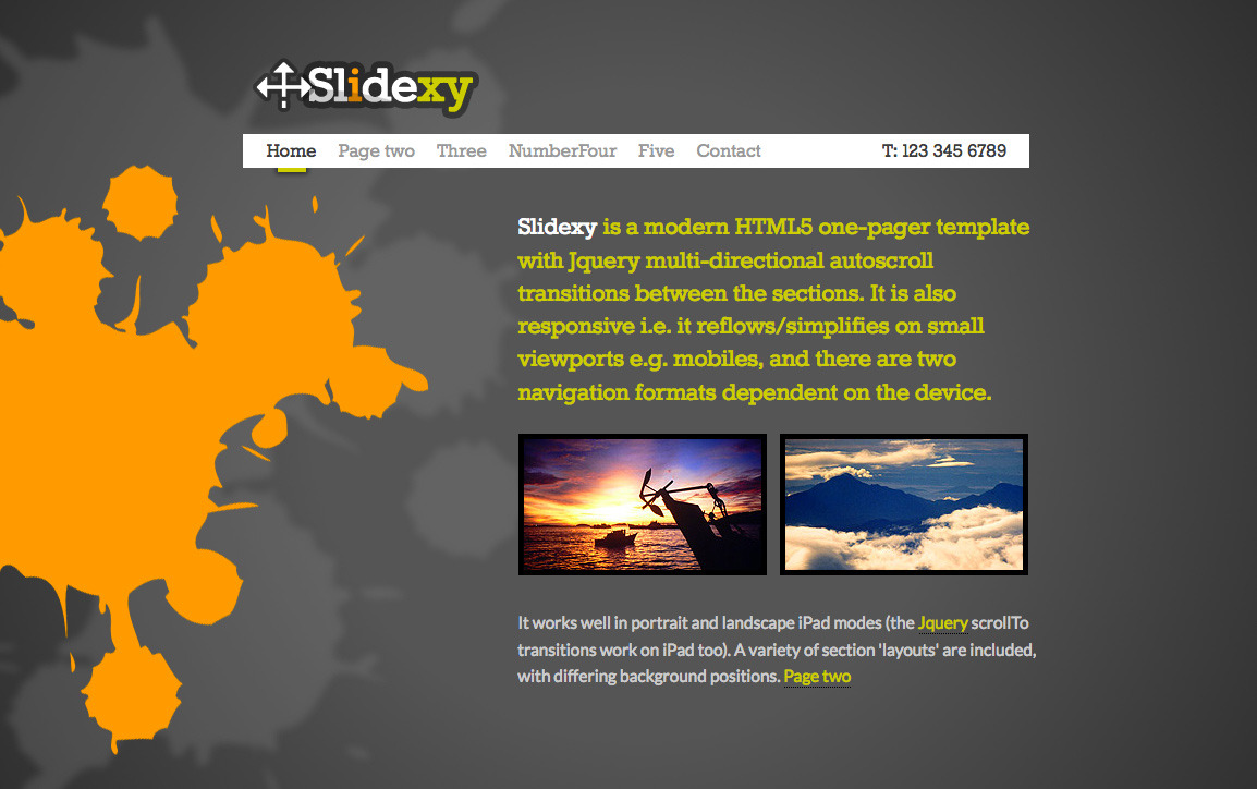 Free Download Slidexy - HTML5/jQuery One Pager With Transitions Nulled Latest Version