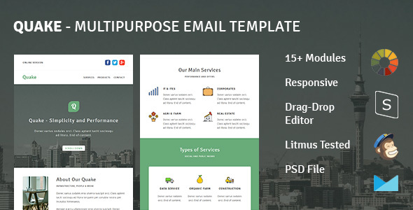 Quake - Responsive Email Template + Stampready Builder