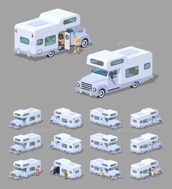 Low Poly White Motor Home - Man-made Objects Objects