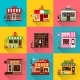 Set of Flat Shop Building Facades Icons - GraphicRiver Item for Sale