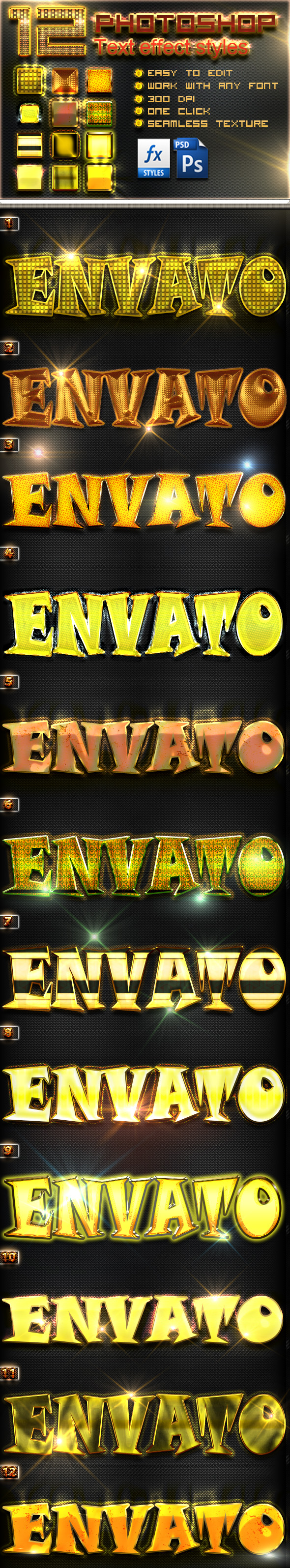 12 Photoshop Gold Text Effect Styles Vol 18 - Text Effects Styles