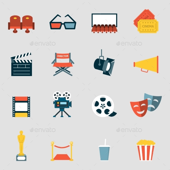 Cinema Icons Flat - Media Icons