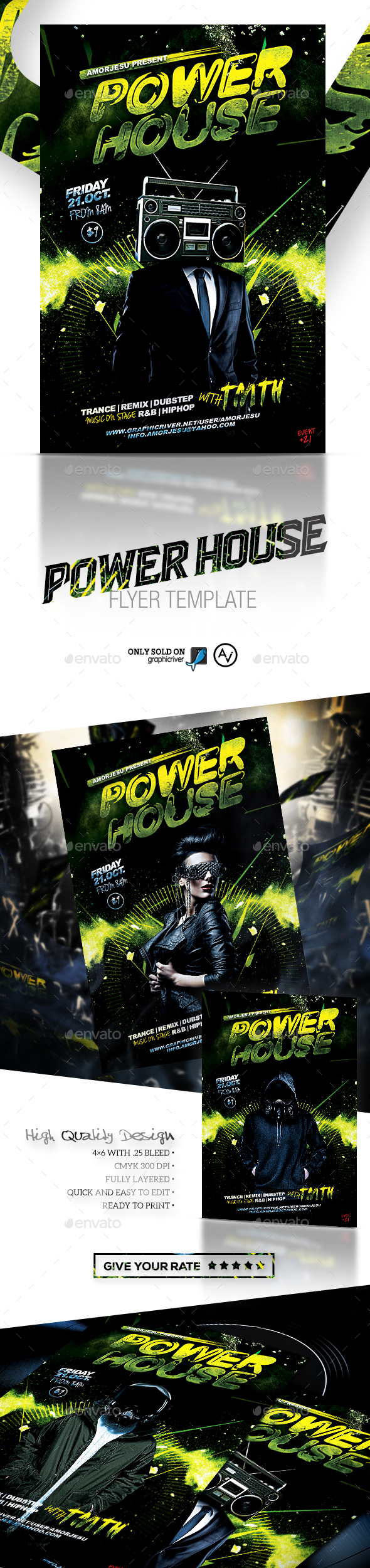 Power House Flyer Template - Clubs & Parties Events