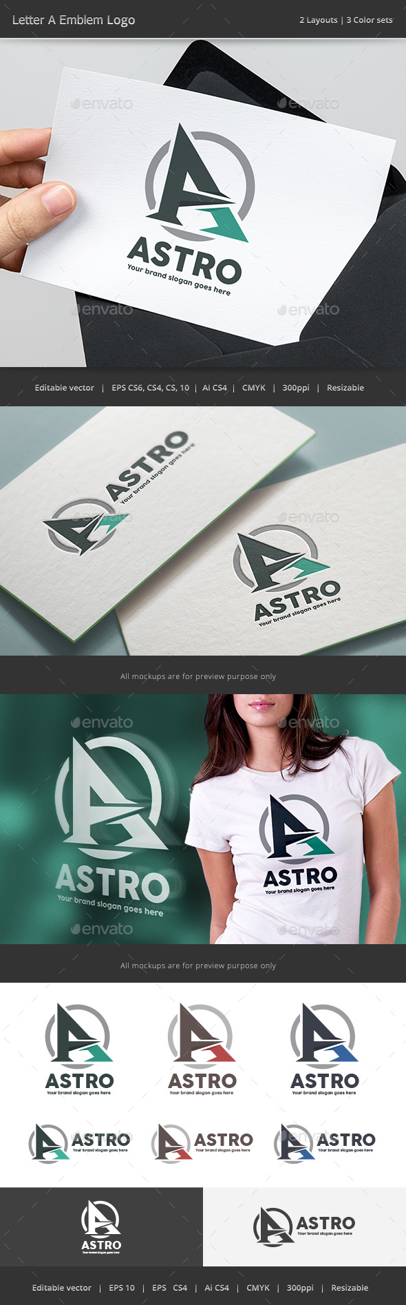Astro Letter A Emblem Logo - Vector Abstract