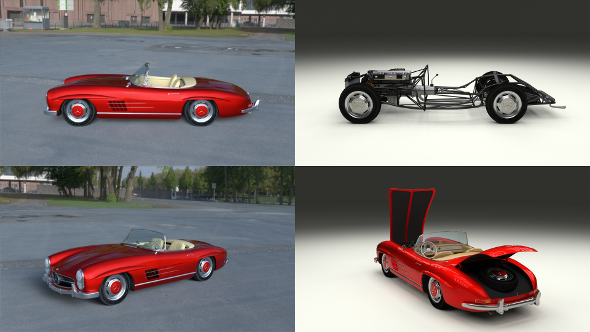 Fully Modelled Mercedes 300SL Roadster Red HDRI - 3DOcean Item for Sale