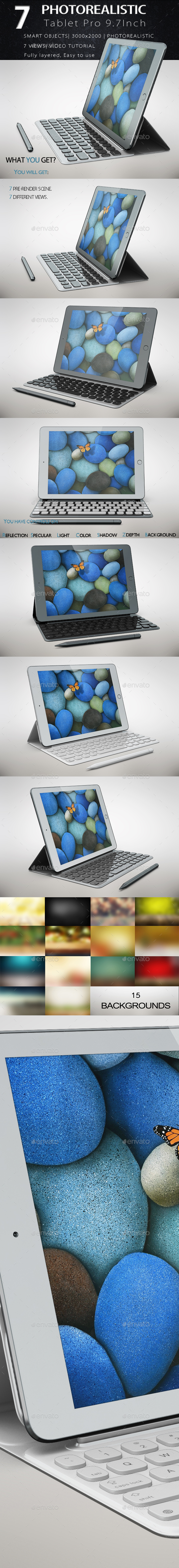 Tablet Pad Pro 9.7 inch Keyboar & Pencil Mock Up - Product Mock-Ups Graphics