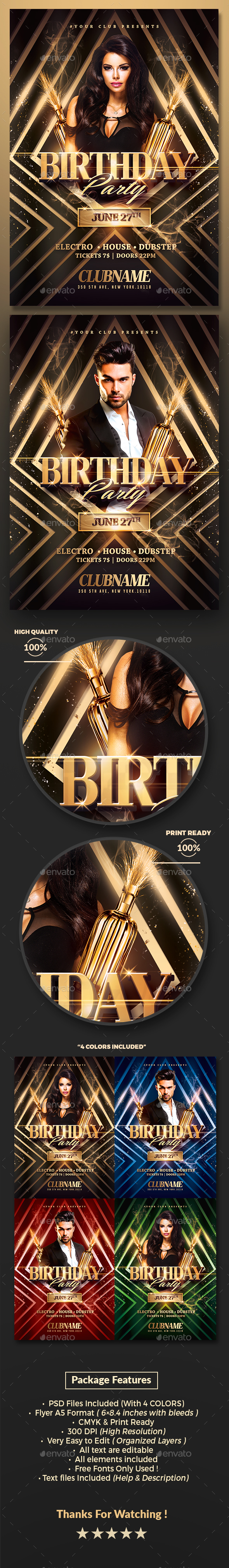 Gold Birthday Party | Psd Flyer Template - Clubs & Parties Events