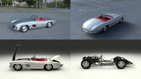 Fully Modelled Mercedes 300SL Roadster Silver HDRI - 3DOcean Item for Sale