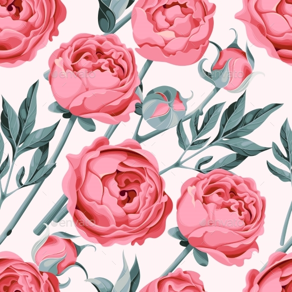 Peony Flower Seamless - Flowers & Plants Nature