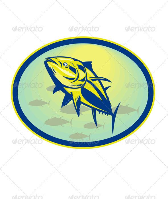 Bluefin Tuna Fish Retro - Animals Characters