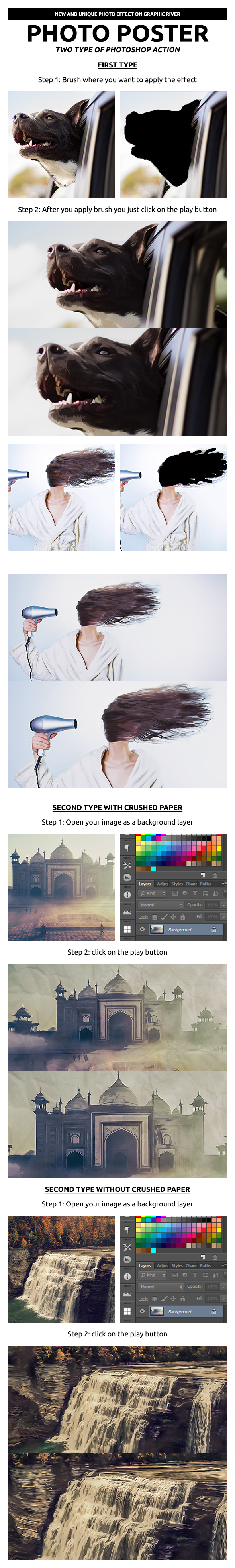 PhotoPoster Photoshop Action - Photo Effects Actions