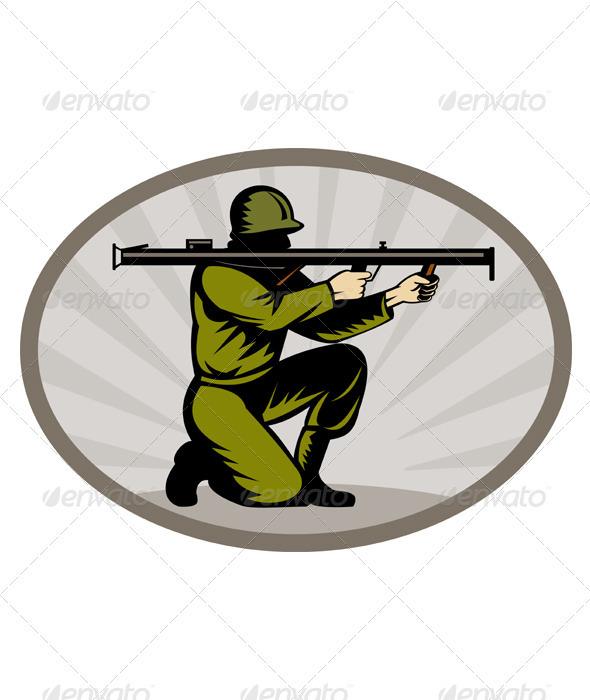 American World War Two Soldier Bazooka - People Characters