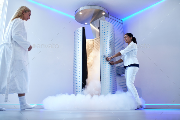 Woman going for whole body cryotherapy - Stock Photo - Images