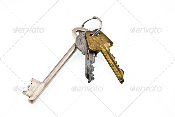 Bunch of keys on white background - Stock Photo - Images