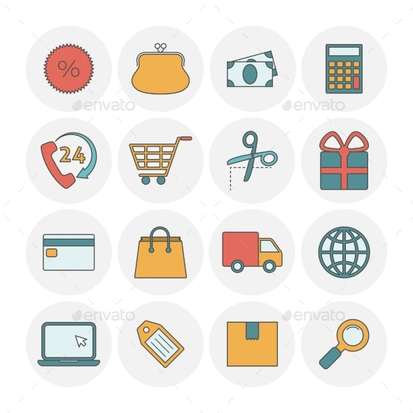 Shopping Outine Icons Flat - Business Icons