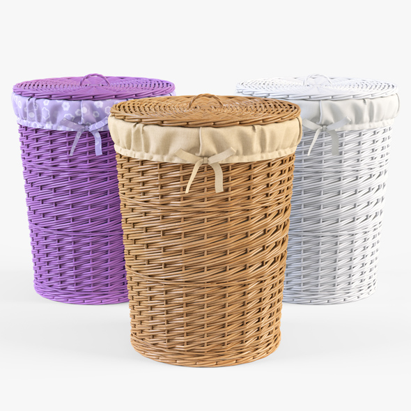 Wicker Laundry Basket 03 Set (3 Color) - 3DOcean Item for Sale