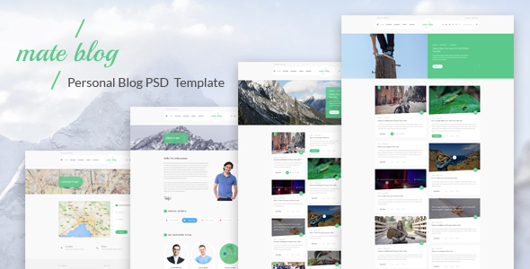 Mate Blog - Material Design Personal Blog PSD Template - Personal PSD Templates