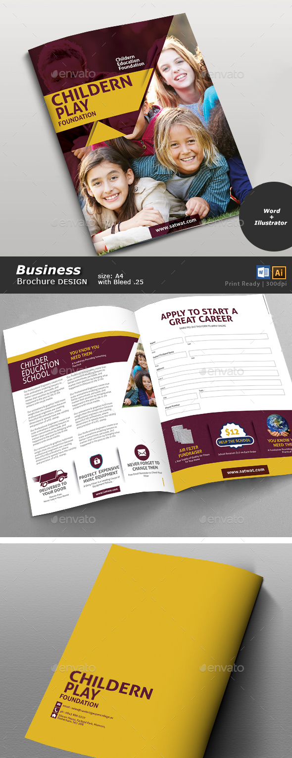 School Multi Purpose Brochure Design  - Brochures Print Templates
