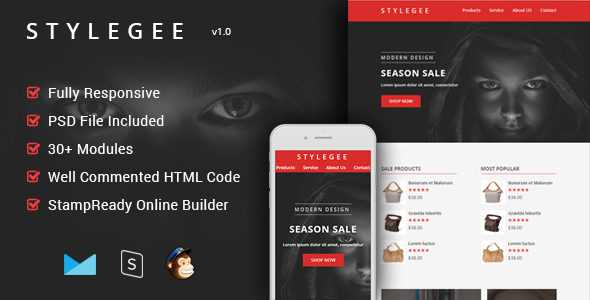 Stylegee - Multipurpose & Responsive Email Template + Builder - Email Templates Marketing