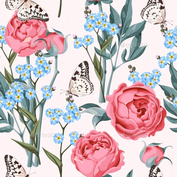 Seamless Peony and Forget-Me-Not - Patterns Decorative