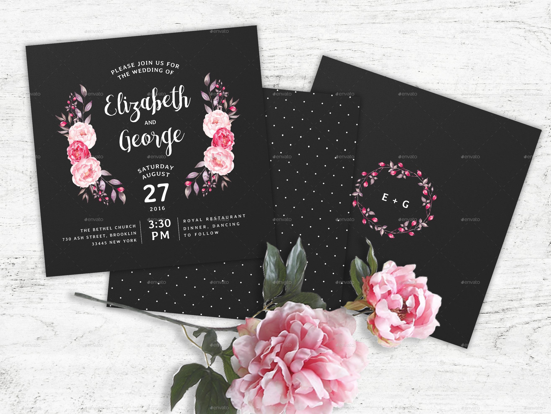 Chalkboard Wedding Invitation Stationery by nibgraphics GraphicRiver