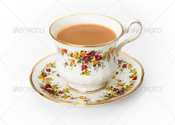 English tea in a bone china cup - Stock Photo - Images
