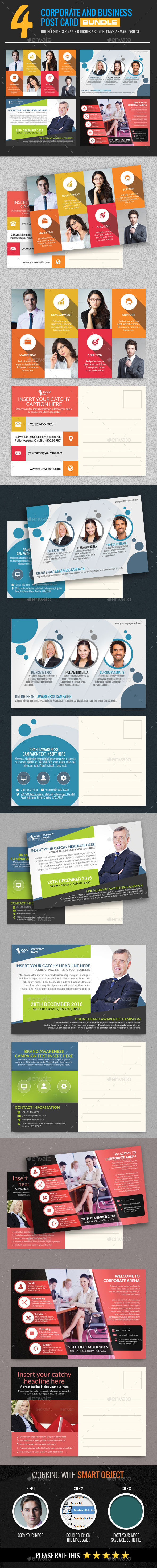 4 In 1 Corporate and Business Post Card Bundle - Cards & Invites Print Templates