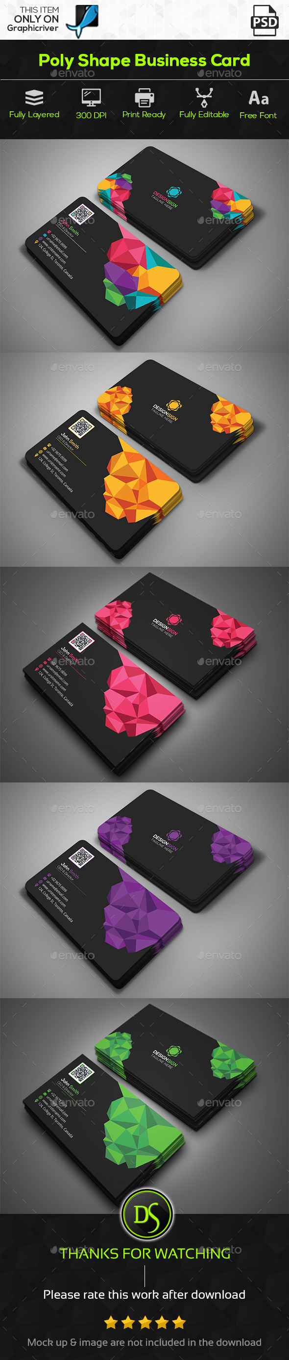 Poly shape business card by designsign graphicriver poly shape business card creative business cards colourmoves