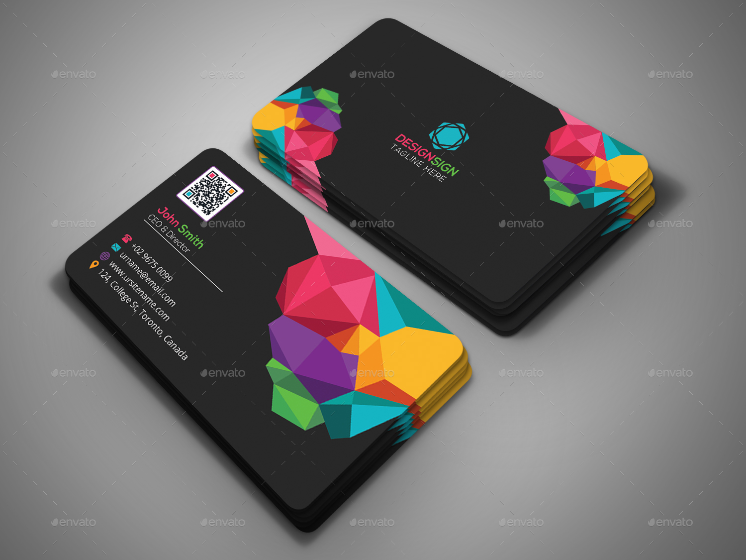 Poly Shape Business Card by DesignSign | GraphicRiver