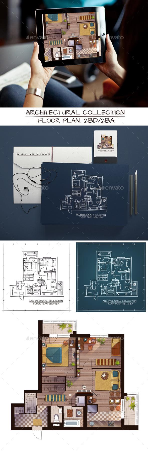 Architectural Sketch Color Floor Plan - Backgrounds Decorative