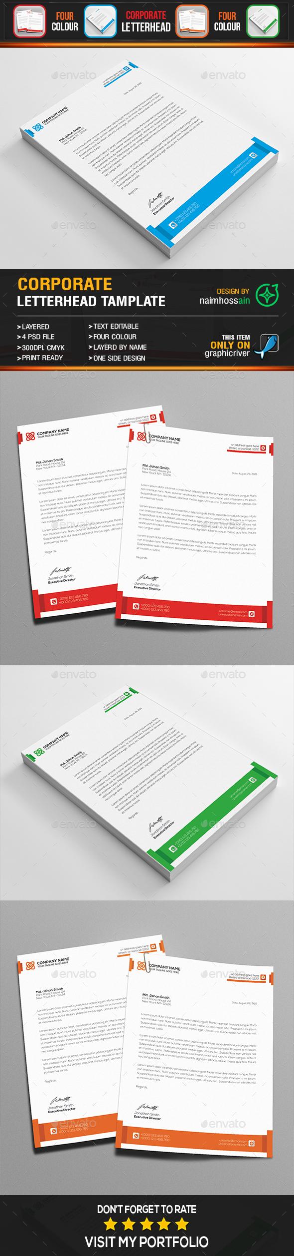 Corporate Letterhead Template - Stationery Print Templates