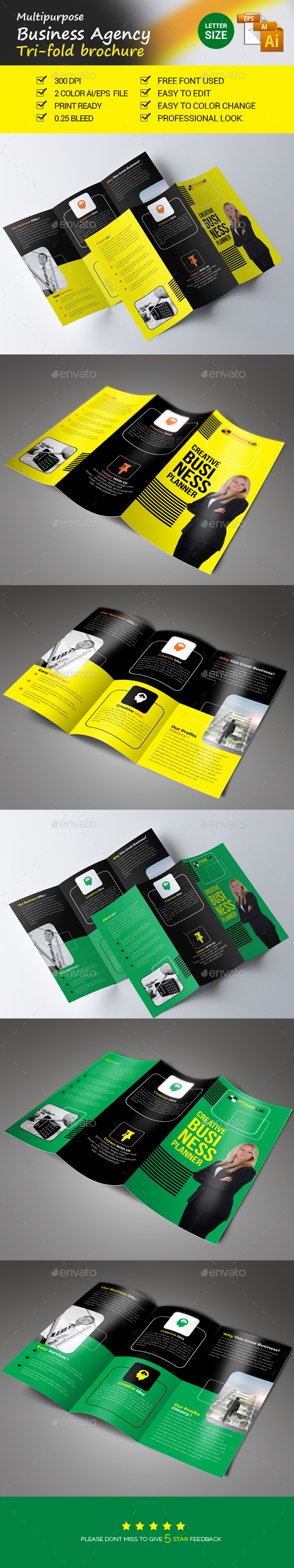 Business Agency Trifold Brochure - Brochures Print Templates