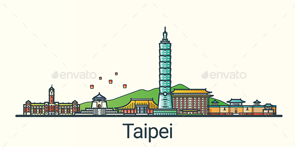 Line Flat Taipei Banner - Buildings Objects