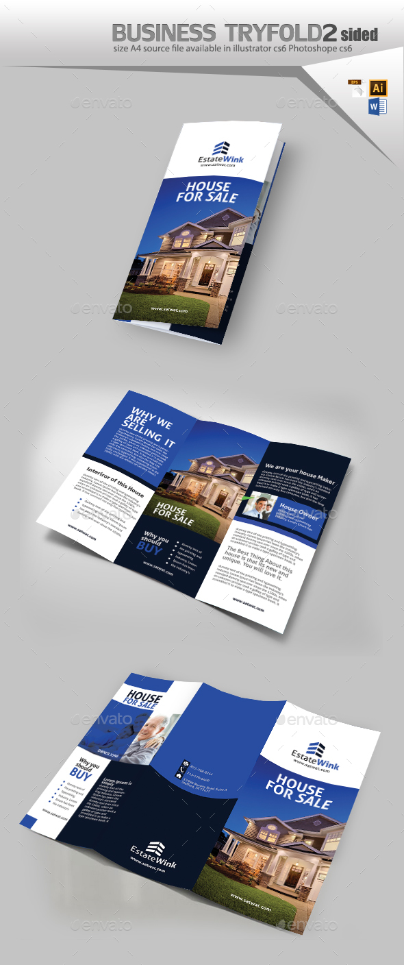 House For Sale Three Fold Brochure  - Brochures Print Templates