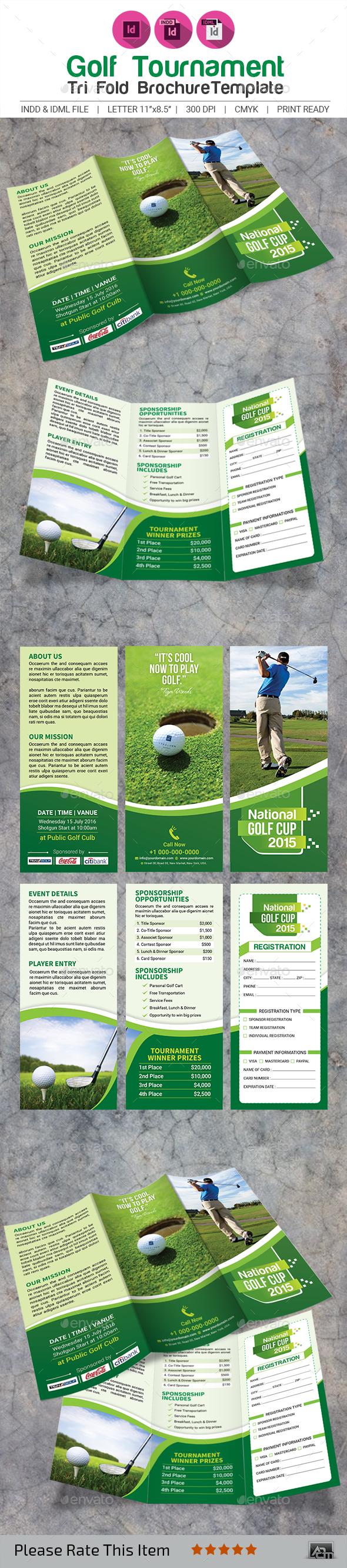 Golf tournament tri fold brochure template by aam360 for Golf tournament program template