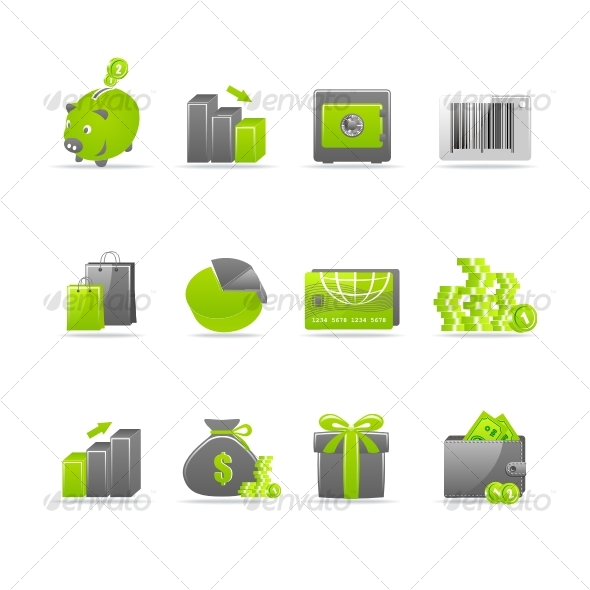 Glossy icon set 4 - Business Icons