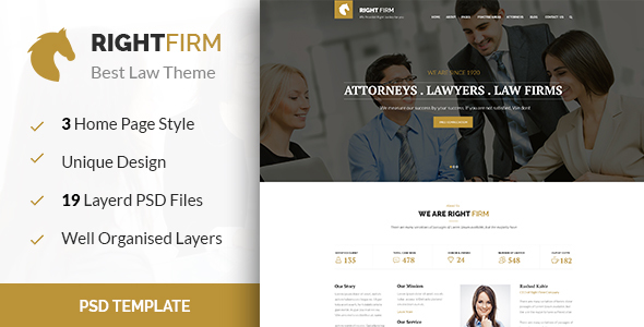 RIGHTFIRM – Law & Business PSD Template
