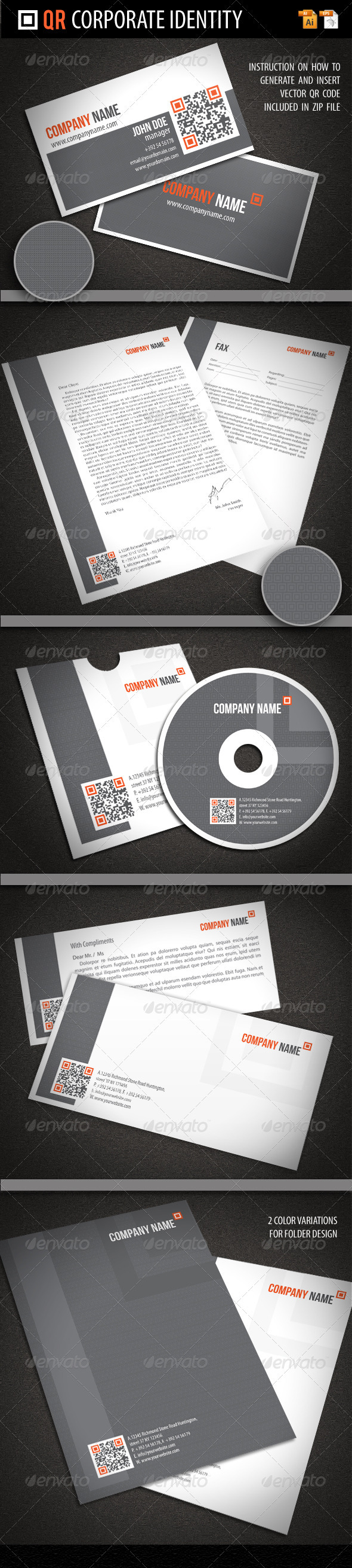 QR Corporate Identity - Stationery Print Templates