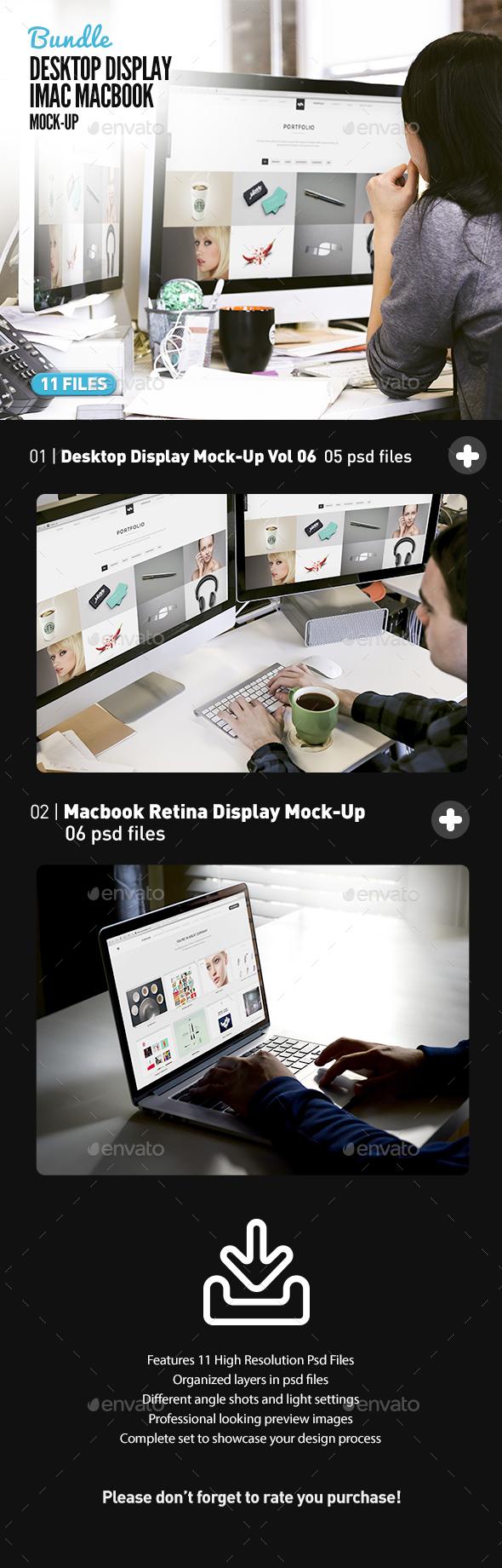Desktop Screen Work Display Mock-Up Bundle All-in-One - Displays Product Mock-Ups