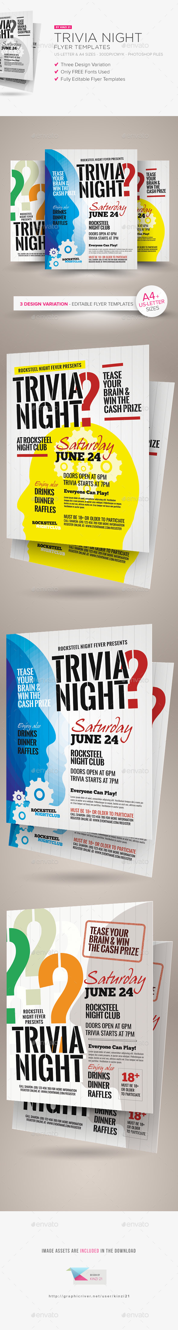 Trivia Night Flyer Templates - Clubs & Parties Events