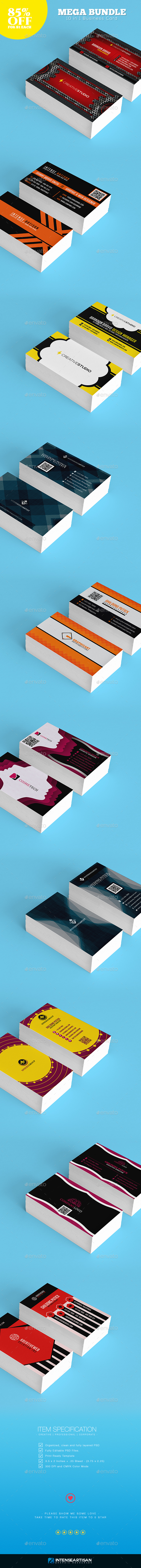 Mega Bundle - 10 in 1 Business Card - Business Cards Print Templates