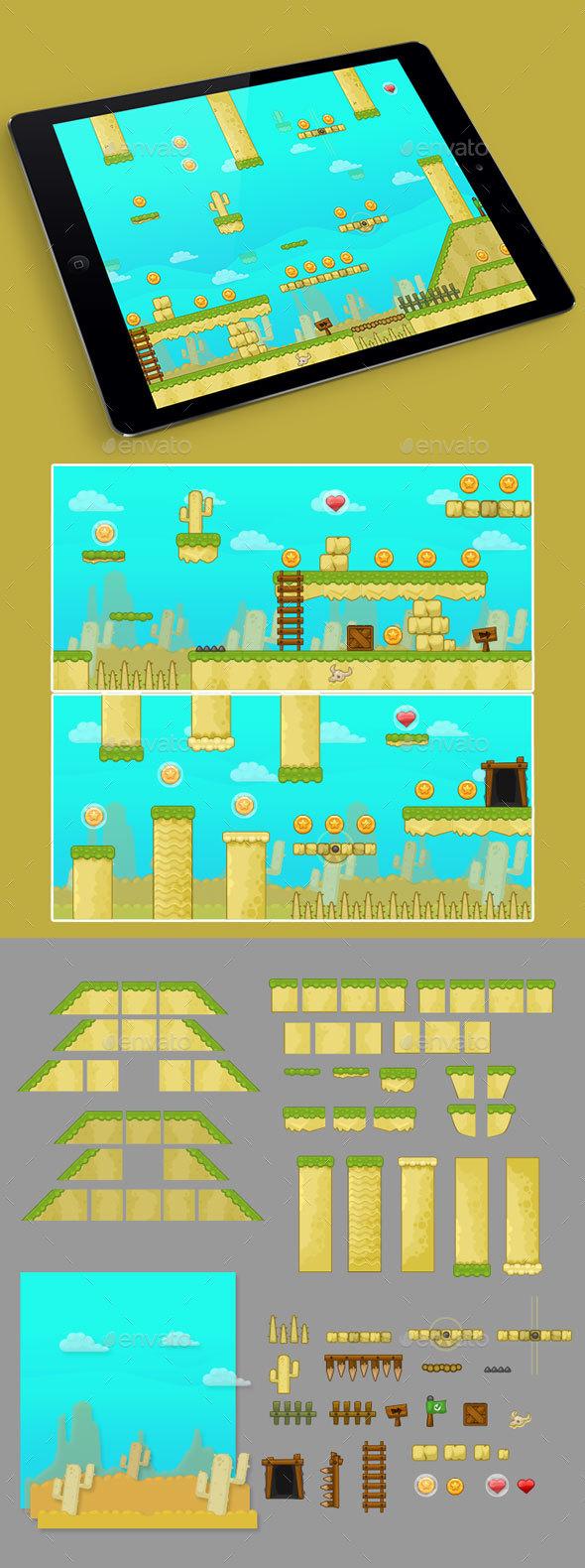2D Desert Game Platformer Tilesets - Tilesets Game Assets
