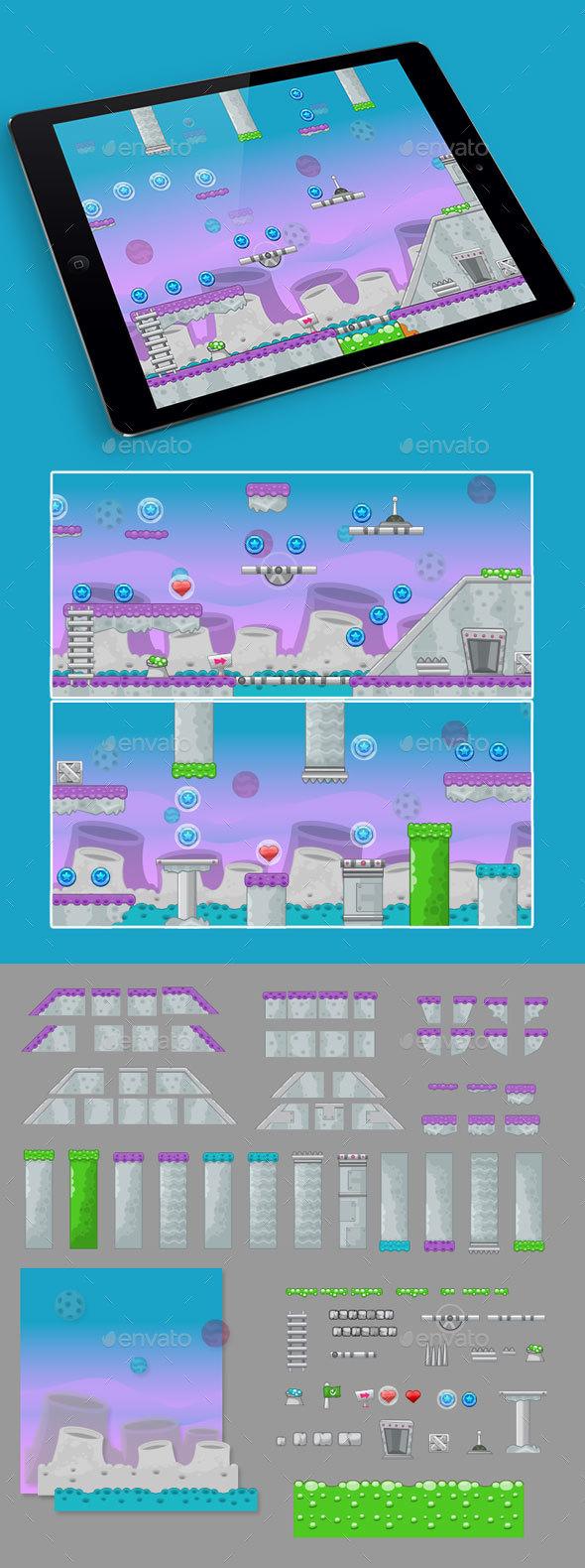 2D Spacial Game Platformer Tilesets - Tilesets Game Assets