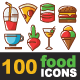 100 Food Icons Line and Colorful - GraphicRiver Item for Sale